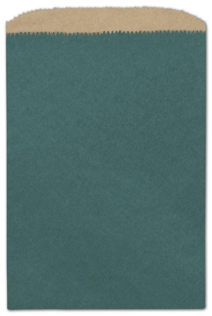 "Teal Color-on-Kraft Merchandise Bags, 6 1/4 x 9 1/4"""