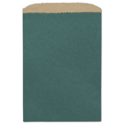 Teal Color-on-Kraft Merchandise Bags, 6 1/4 x 9 1/4""