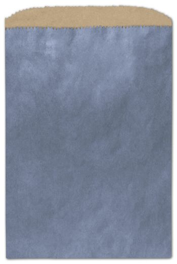Metallic Blue Color-on-Kraft Merchandise Bags, 6 1/4x9 1/4
