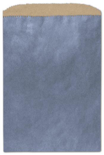 Metallic Blue Color-on-Kraft Merchandise Bags, 6 1/4x9 1/4