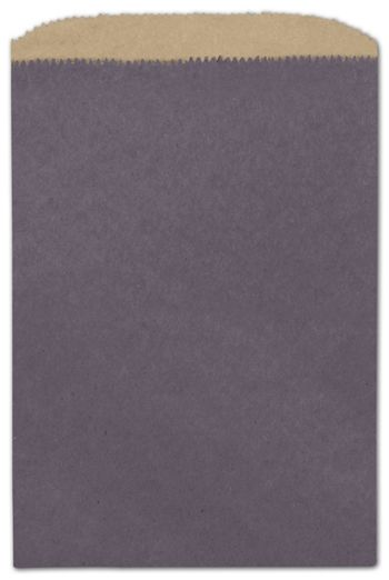 Plum Color-on-Kraft Merchandise Bags, 6 1/4 x 9 1/4