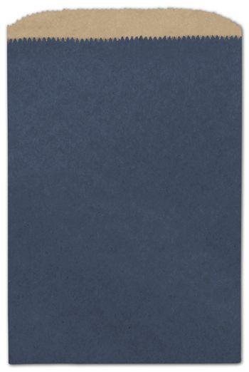 Dark Blue Color-on-Kraft Merchandise Bags, 6 1/4 x 9 1/4