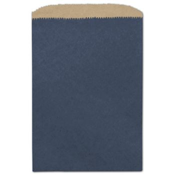 Dark Blue Color-on-Kraft Merchandise Bags, 6 1/4 x 9 1/4