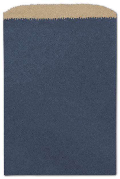 "Dark Blue Color-on-Kraft Merchandise Bags, 6 1/4 x 9 1/4"""