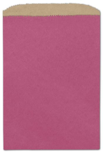 Cerise Color-on-Kraft Merchandise Bags, 6 1/4 x 9 1/4