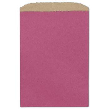 Cerise Color-on-Kraft Merchandise Bags, 6 1/4 x 9 1/4