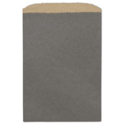 "Storm Grey Color-on-Kraft Merchandise Bags, 6 1/4 x 9 1/4"""