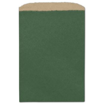 Forest Green Color-on-Kraft Merchandise Bags, 6 1/4x9 1/4
