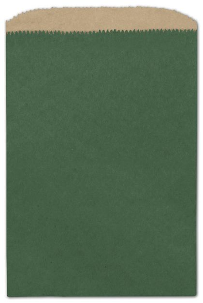 Forest Green Color-on-Kraft Merchandise Bags, 6 1/4x9 1/4""