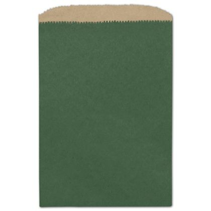 """Forest Green Color-on-Kraft Merchandise Bags, 6 1/4x9 1/4"""""""