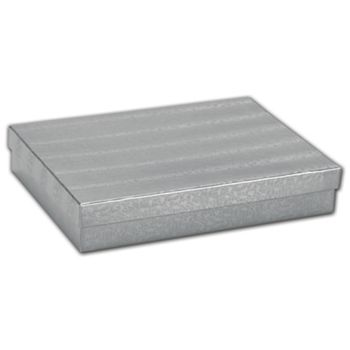 Silver Foil Embossed Jewelry Boxes, 7 x 5 x 1 1/4