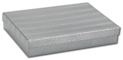 """Silver Foil Embossed Jewelry Boxes, 7 x 5 x 1 1/4"""""""