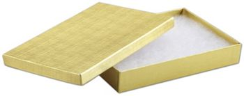 Gold Linen Jewelry Boxes, 8 x 5 1/2 x 1 1/4