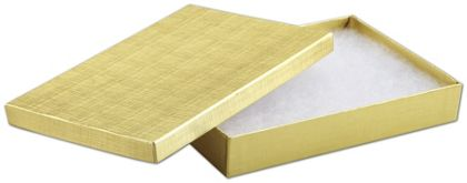 Gold Linen Jewelry Boxes, 8 x 5 1/2 x 1 1/4""