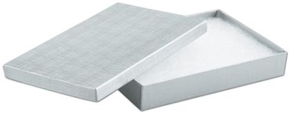 """Silver Linen Jewelry Boxes, 8 x 5 1/2 x 1 1/4"""""""