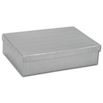 Silver Foil Embossed Jewelry Boxes, 8 x 5 1/2 x 2