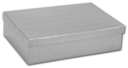 Silver Foil Embossed Jewelry Boxes, 8 x 5 1/2 x 2""