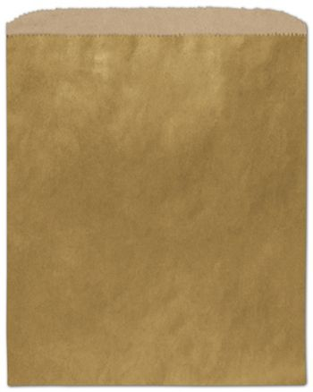 Metallic Gold Color-on-Kraft Merchandise Bags, 8 1/2 x 11