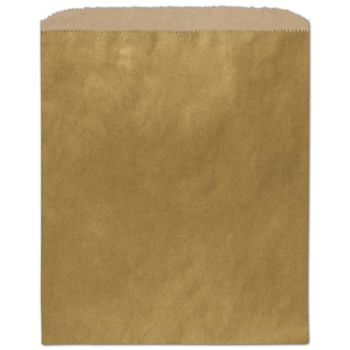 Metallic Gold Color-on-Kraft Merchandise Bags, 8 1/2 x 11