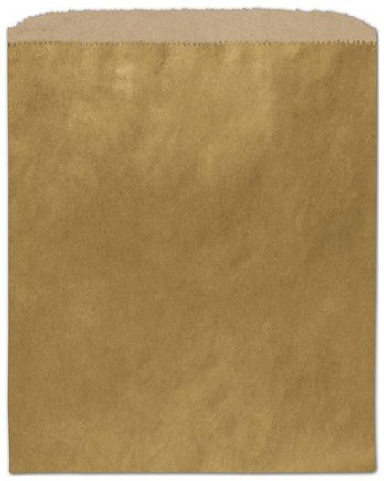 "Metallic Gold Color-on-Kraft Merchandise Bags, 8 1/2 x 11"""