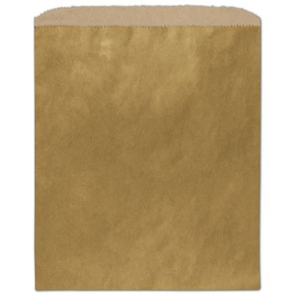 Metallic Gold Color-on-Kraft Merchandise Bags, 8 1/2 x 11""