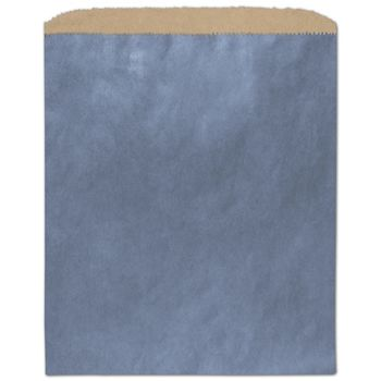 Metallic Blue Color-on-Kraft Merchandise Bags, 8 1/2 x 11