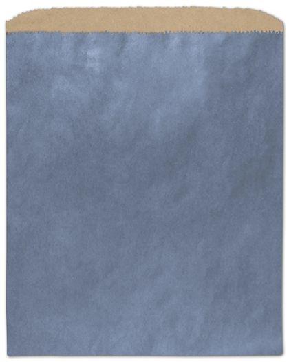 "Metallic Blue Color-on-Kraft Merchandise Bags, 8 1/2 x 11"""
