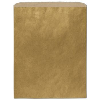Metallic Gold Color-on-Kraft Merchandise Bags, 12 x 15