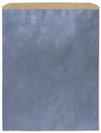 Metallic Blue Color-on-Kraft Merchandise Bags, 12 x 15