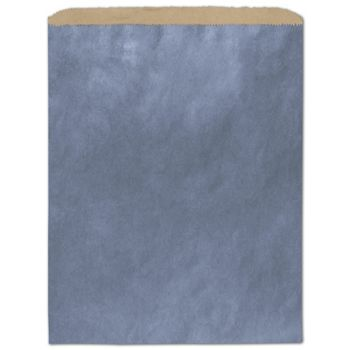 Metallic Blue Color-on-Kraft Merchandise Bags, 12 x 15