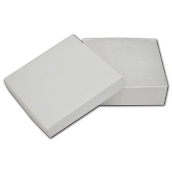 "White Krome Jewelry Boxes, 3 1/2 x 3 1/2 x 1"""