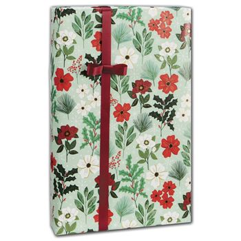 "Christmas Flowers Gift Wrap, 24"" x 208'"