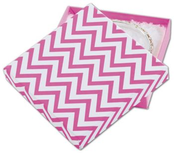 Chevron Calypso Pink Eco Tone Jewelry Box, 3 1/2x3 1/2x7/8