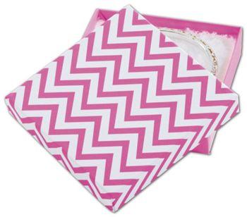 Chevron Calypso Pink Eco Tone Jewelry Box, 3 1/2x3 1/2x7/8