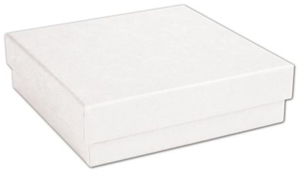 White Kraft Eco Tone Jewelry Boxes, 3 1/2 x 3 1/2 x 7/8""