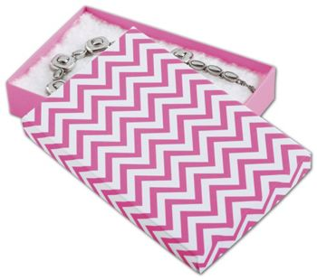 Chevron Calypso Pink Eco Tone Jewelry Box, 5 7/16x3 1/2x1