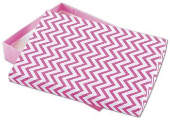 Chevron Calypso Pink Eco Tone Jewelry Boxes, 7x5x1 1/4