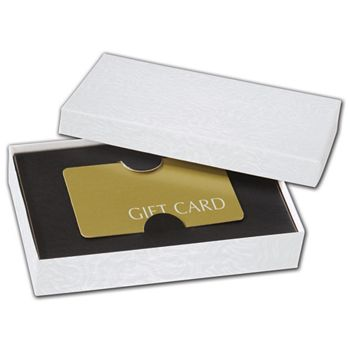 Black Embossed Gift Card Inserts, 5 7/16 x 3 1/2 x 1