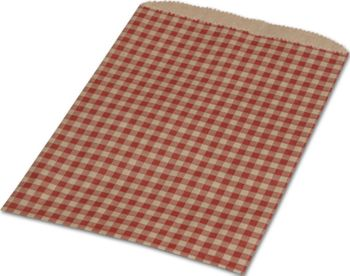 Red Gingham Paper Merchandise Bags, 6 1/4 x 9 1/4