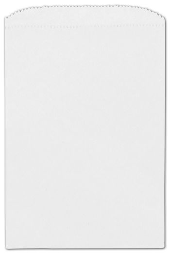 White Paper Merchandise Bags, 6 1/4 x 9 1/4