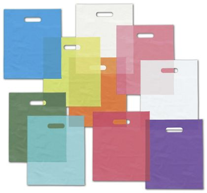 Colored Frosted High Density Merchandise Bags, 9 x 12""