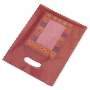 Red Frosted High Density Merchandise Bags, 9 x 12