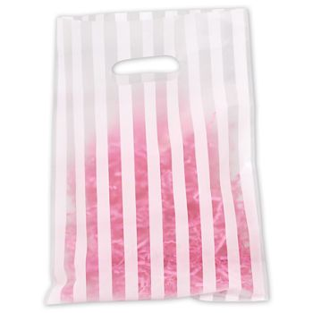 White Stripe Frosted Merchandise Bags, 9 x 12