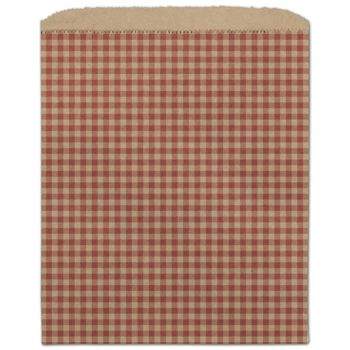 Red Gingham Paper Merchandise Bags, 8 1/2 x 11