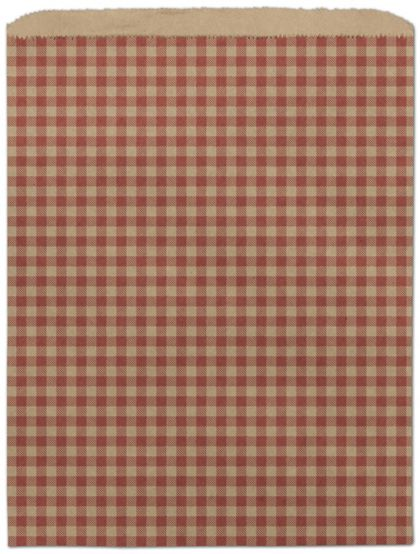 """Red Gingham Paper Merchandise Bags, 12 x 15"""""""