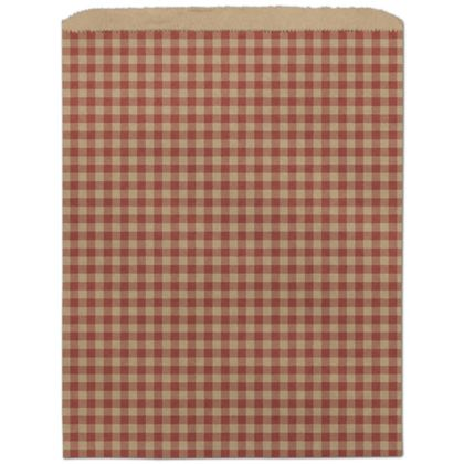Red Gingham Paper Merchandise Bags, 12 x 15
