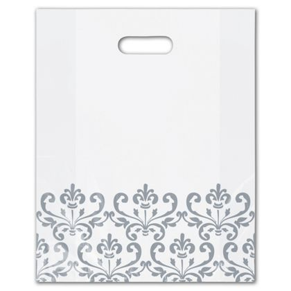 Silvery Chic Frosted Merchandise Bags, 12 x 15