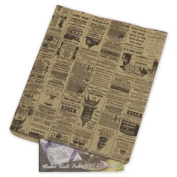 Newsprint Merchandise Bags, No Gussets, 12 x 15