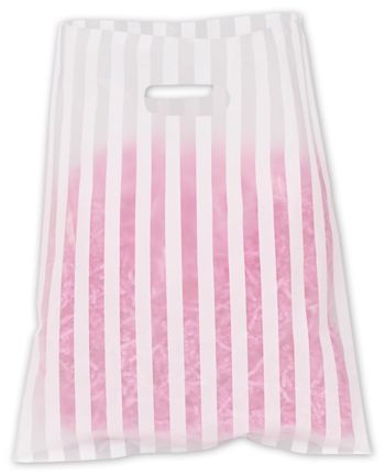 White Stripe Frosted Merchandise Bags, 12 x 15