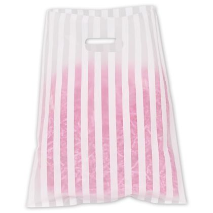 White Stripe Frosted Merchandise Bags, 12 x 15""
